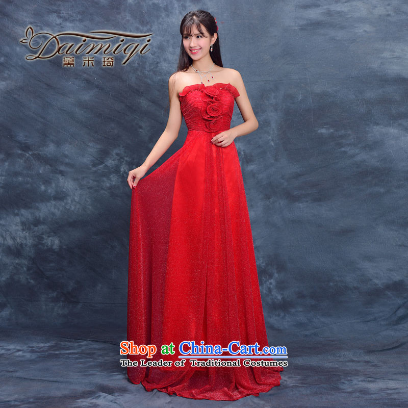 Evening dress new bride summer 2015, serving evening drink wedding dress moderator female performances banquet long red?L