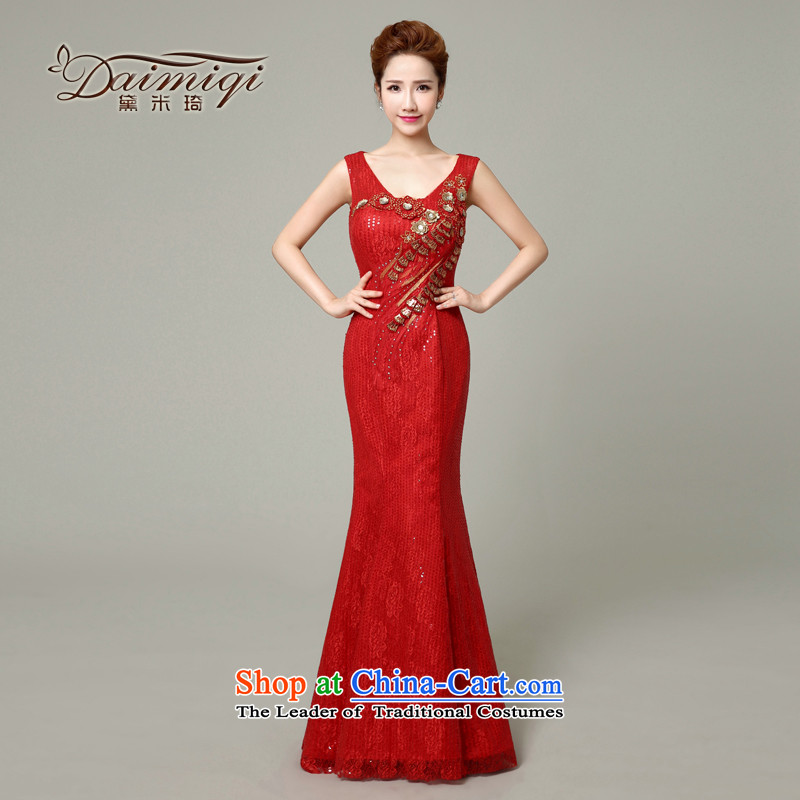 Stylish new 2015 Red Dress V-Neck bride bows Services Mr Ronald evening dresses long crowsfoot video thin red�XXL