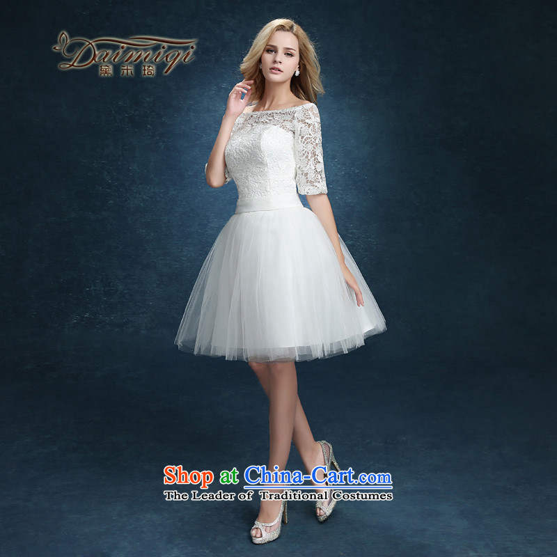 Bridesmaid Services 2015 new lace booking wedding-dress married women serving short of bows banquet dinner dress white summer whiteS