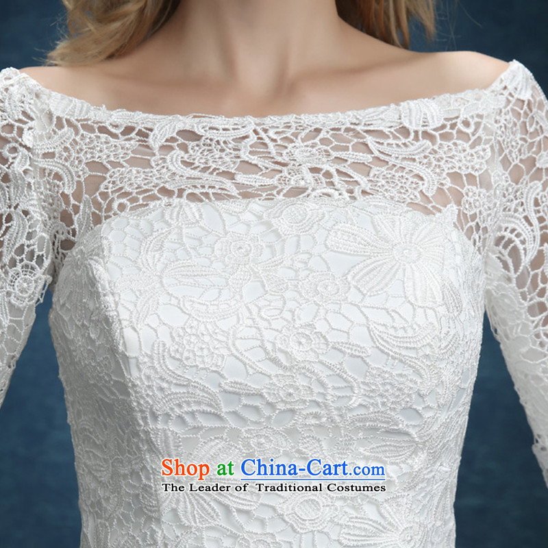 Bridesmaid Services 2015 new lace booking wedding-dress married women serving short of bows banquet dinner dress white summer whiteS Demi Moor Qi , , , shopping on the Internet