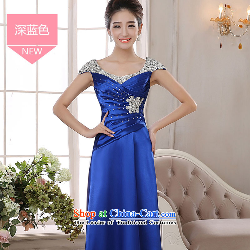 Banquet evening dresses long 2015 new stylish wedding dress bride toasting champagne red services under the auspices of the Sau San performance blue?L