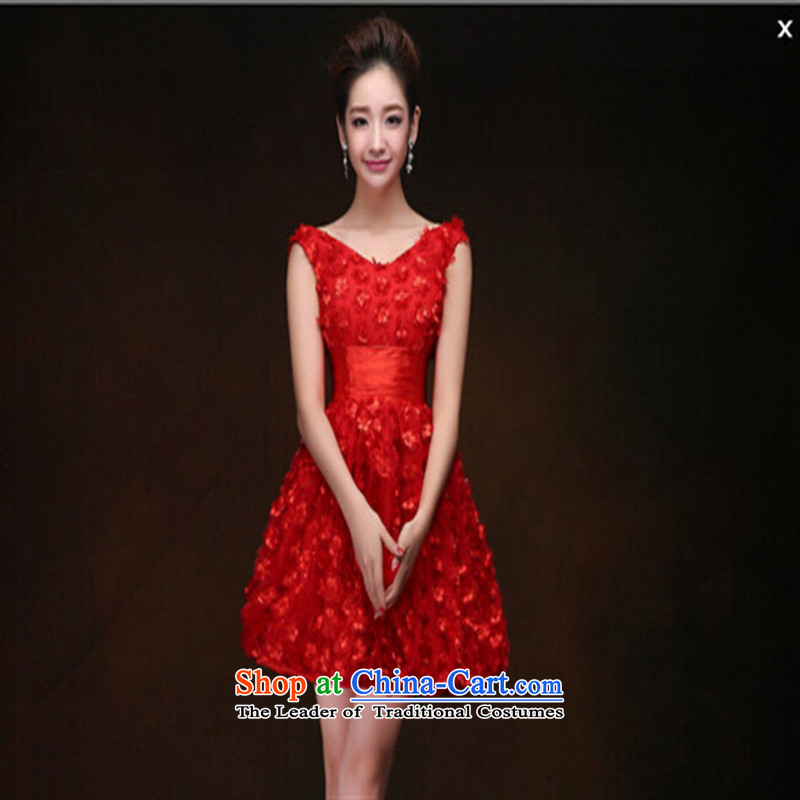 Mano-hwan's 2015 new red v-neck marriages bows service) bridesmaid wedding evening performances small dress red�XS