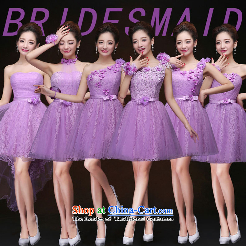 Mano-hwan's 2015 new autumn and winter hang also lifting strap lace bridesmaid short skirt_ Bride wedding ceremony service dinner drink sister purple C S