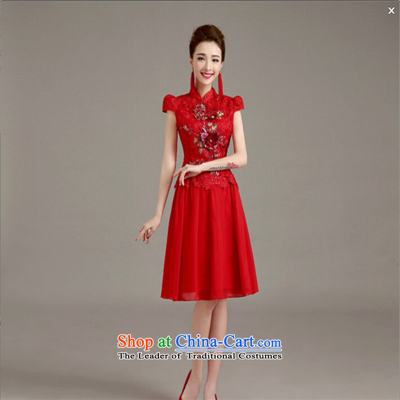 The bride's-hwan long serving drink in spring and summer 2015 new retro cheongsam dress wedding dress Soo-wo service use red dragon S