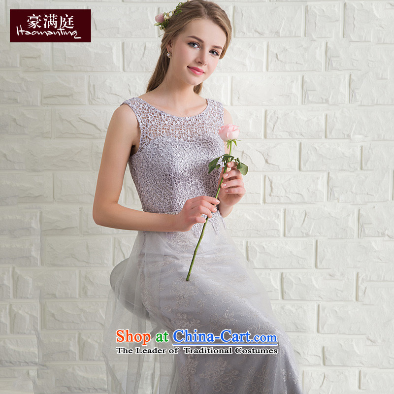 Ho full Chamber wedding banquet performances moderator evening dresses long marriage bridesmaid bride services with the NEW Summer 2015 gray color�XL