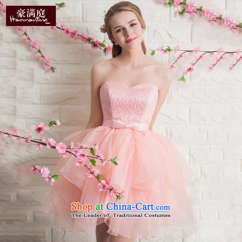 2015 new bows and short of Chest Services Mr Ronald bride wedding dress stylish banquet evening dresses bon bon skirt red jade pink?S