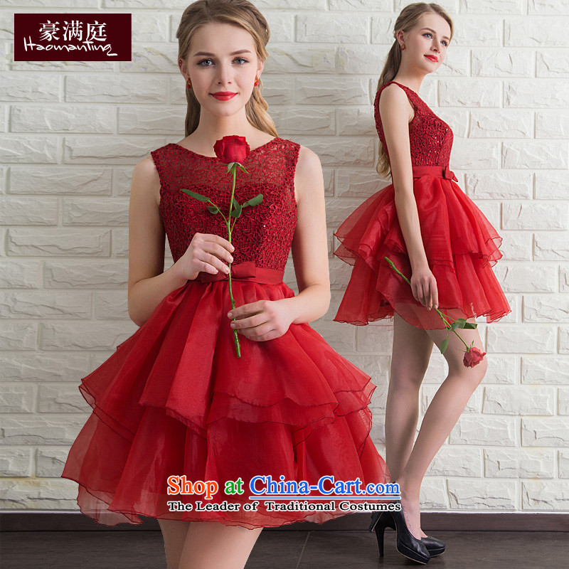 However Service Bridal 2015 Summer new red short skirt wedding dresses, small betrothal marriage will dress dinner wine red L