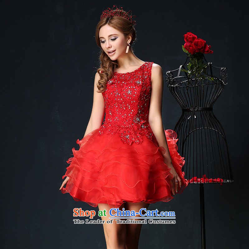 Red bows services 2015 New 2 large shoulder graphics thin bride banquet dinner dress short of theatrical Services Mr Ronald red custom