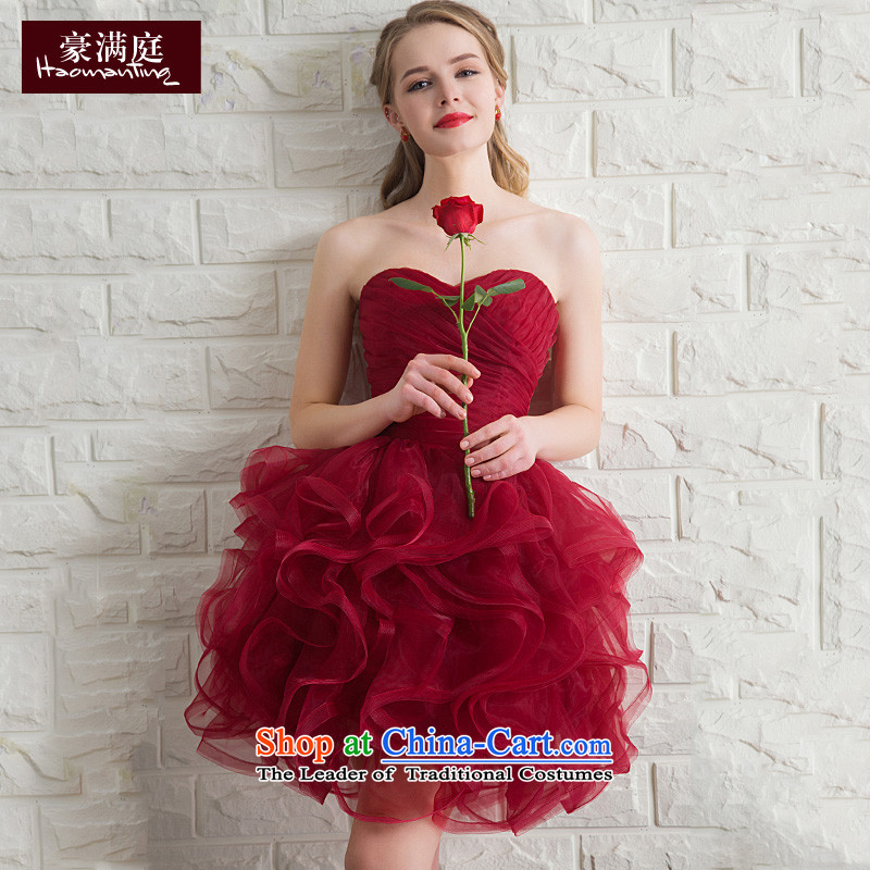 Wipe the chest small shortage of summer gown red bon bon skirt marriages bows services bridesmaid banquet moderator evening dresses wine red?L