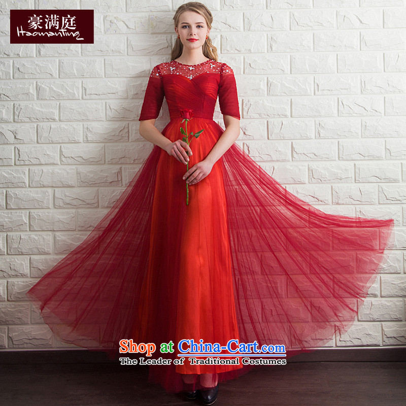 Ho full Chamber bride chief) bows cuff red wedding dinner will be chairing the marriage evening dresses bride red�L