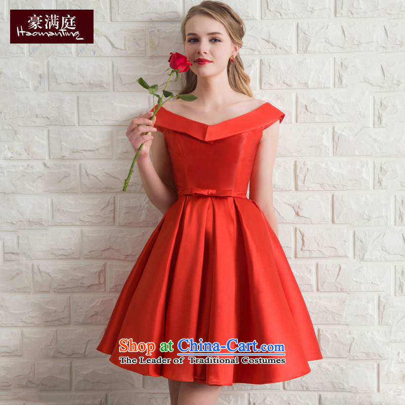 Marriage Ceremony Service Bridal summer short bows of small red dress female bridesmaid services moderator evening dresses 2015 New Red�M