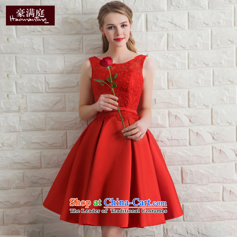 Ho full Chamber banquet dinner dress lace dress skirt female red bows Service Bridal betrothal wedding dress evening summer RED M