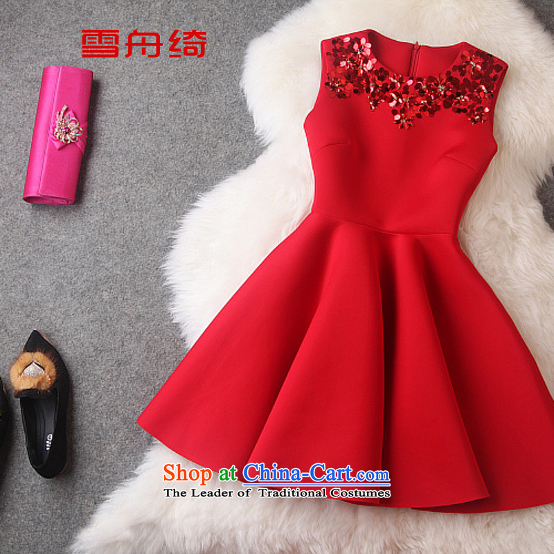Snow boat as 2015 autumn and winter air layer round-neck collar on-chip video thin red small Sau San dress dresses A5689 female red L