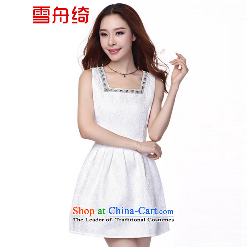 The snow�fall 2015 Cross-load boat dresses aristocratic dress Western Jacquard Pipe Sleeveless dresses A8886 white�L