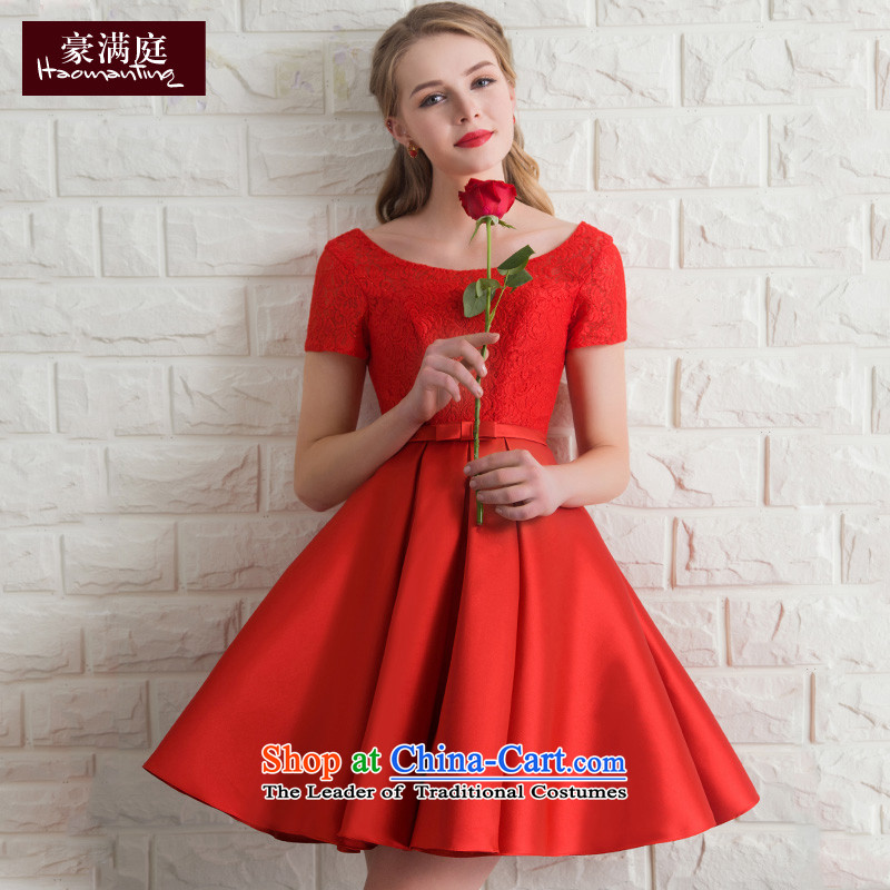 Wedding dress bride bows services banquet evening dresses 2015 new bridesmaid services red short-sleeved short summer evening, Red M