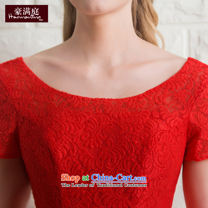 Wedding dress bride bows services banquet evening dresses 2015 new bridesmaid services red short-sleeved short summer evening, Red M HO full Chamber , , , shopping on the Internet