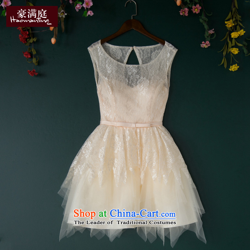 The Bride Dress Short of red marriage services bridesmaid small bows dress wedding banquet evening dresses 2015 new summer champagne color聽M