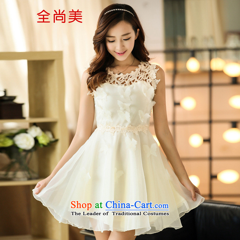 Jeon Sang-us new Korean 2015 lace the yarn dresses bon bon skirt princess skirt sleeveless bridesmaid dresses dress A2154 small white?M