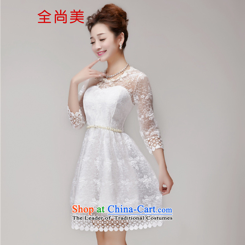 Jeon Sang-ha nail Pearl 2015 Sau San Princess skirt dress champagne color and chest bridesmaid services sister skirt small dress A1245 White�M