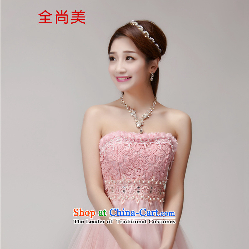 Jeon Sang-ha nail Pearl 2015 diamond temperament and Sau San chest dresses bridesmaid groups dress skirt A2154 pink�L