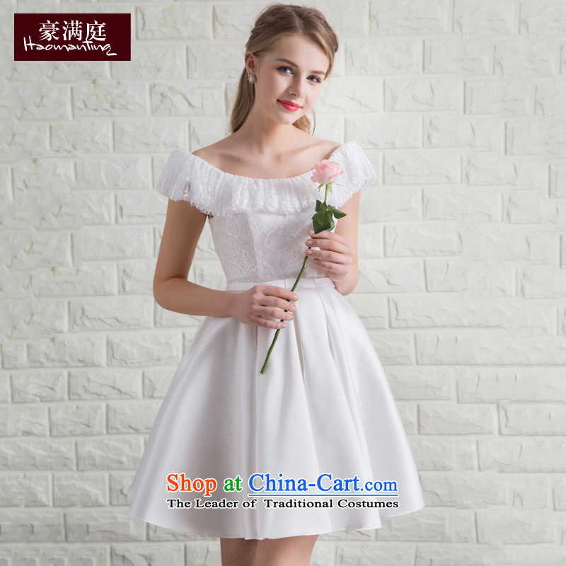 Summer Evening Dress Short, 2015 New bows services of the word shoulder bridesmaid services marriages betrothal back door banquet service White?M
