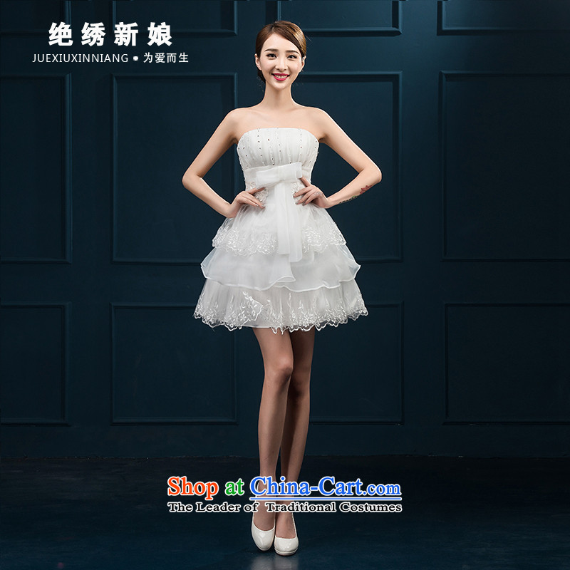 Bridesmaid Services 2015 Summer new Korean wiping the chest white short of marriages banquet evening dresses dresses white?S?Suzhou Shipment