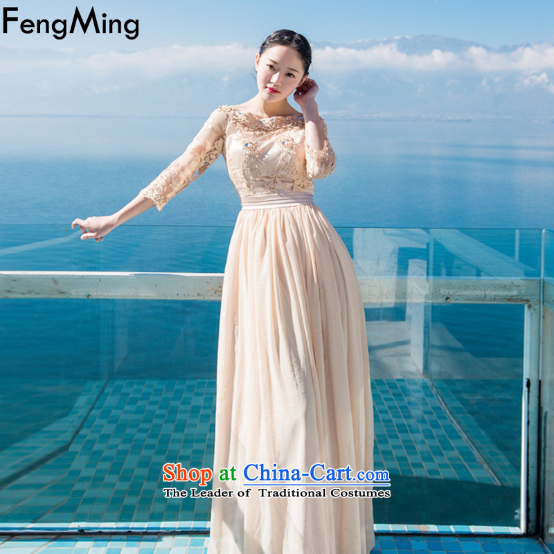 Hsbc Holdings plc Ming aristocratic temperament dress skirt retro bridesmaid bridal lace wedding dresses bare shoulders heavy industry staples bead large resort long skirt and color L