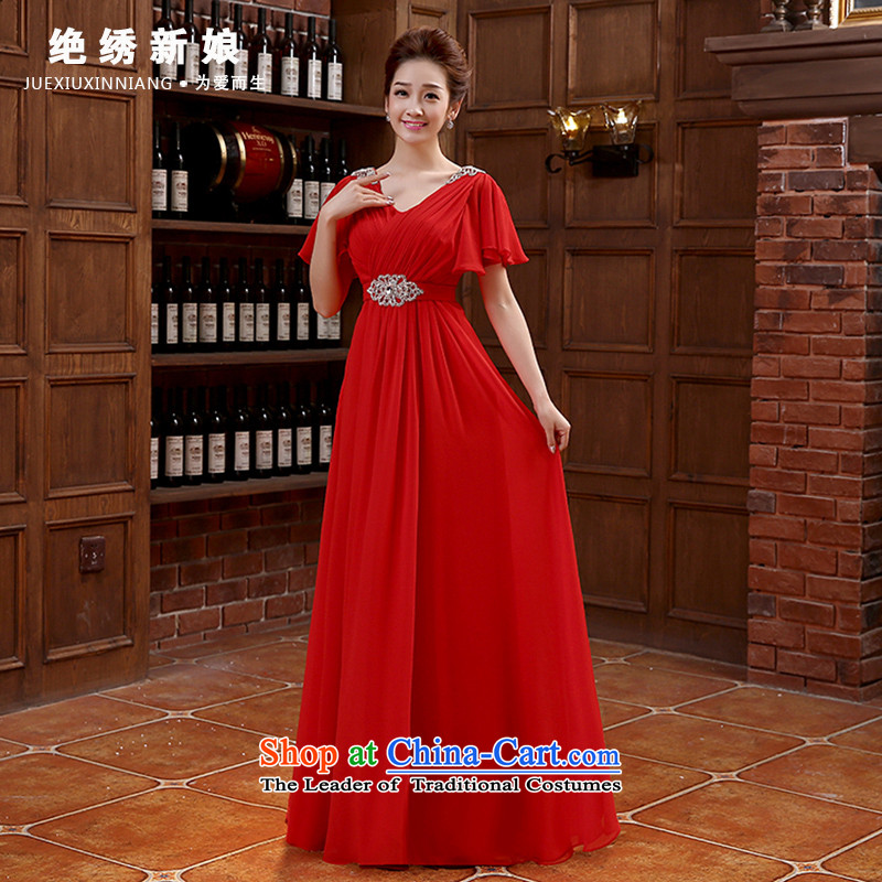 New Korea 2015 new edition shoulders red long large banquet marriages evening dresses video thin bows services red?XL?Suzhou Shipment