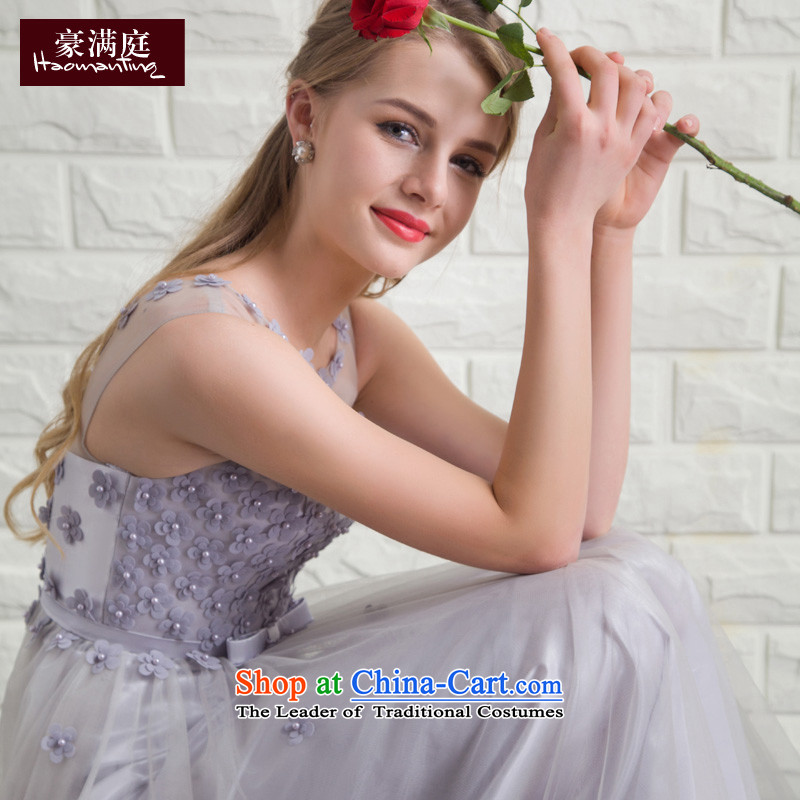 Wedding dress 2015 new bride Summer Wedding dress bows to Sau San long evening banquet dinner dress skirt gray color?M