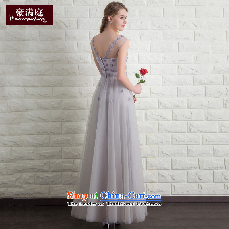 Wedding dress 2015 new bride Summer Wedding dress bows to Sau San long evening banquet dinner dress skirt gray color M HO full Chamber , , , shopping on the Internet