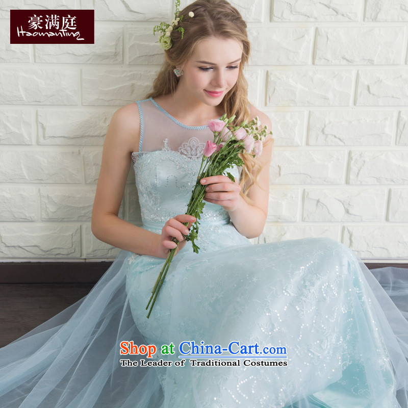 Evening dress long summer 2015 new bride services banquet hosted dresses bows dresses married women serving bridesmaid ice blue�XL