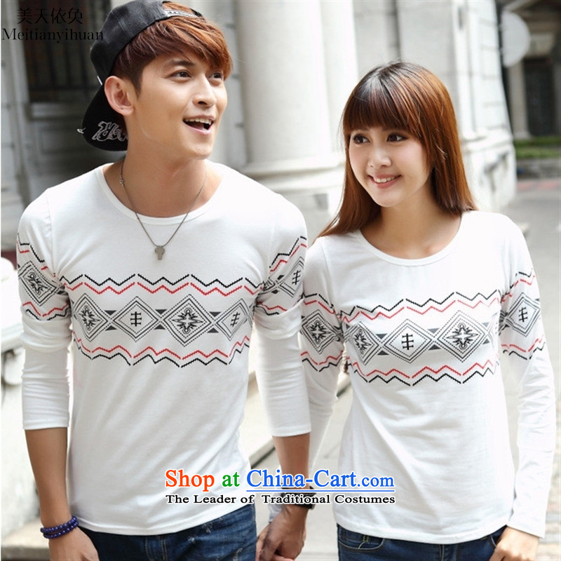 The spring of the new Korean version of national wind stamp long-sleeved T-shirt with round collar couples Taliban services picture color�XL