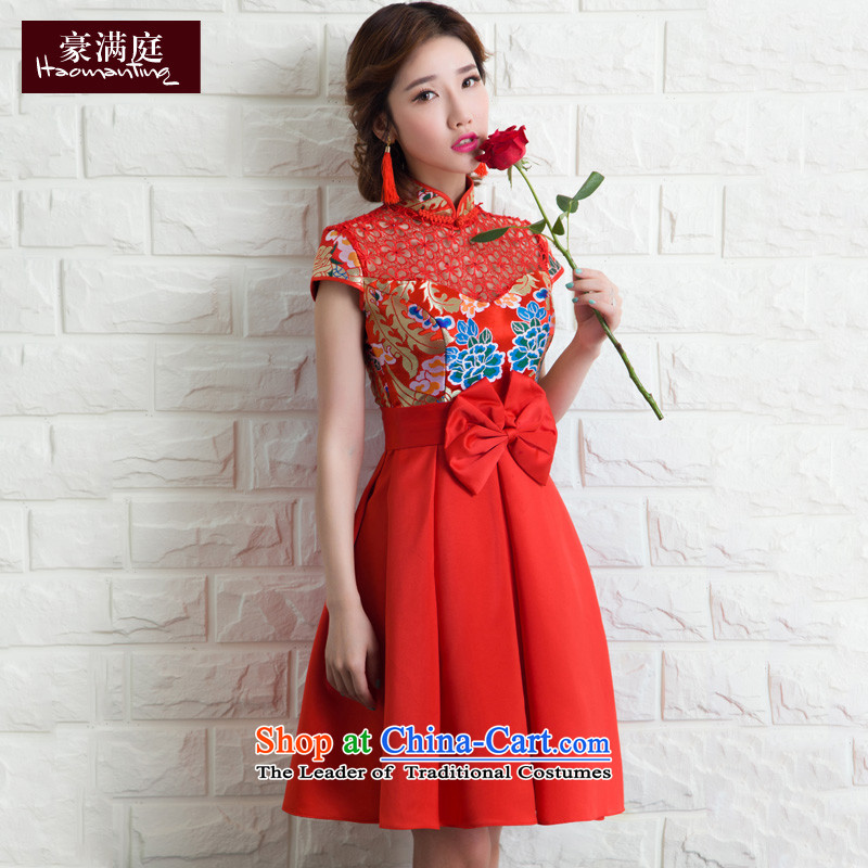 The Bride Services Mr Ronald short of bows red wedding dress skirt female retro embroidery betrothal back to door service banquet evening dresses red聽S