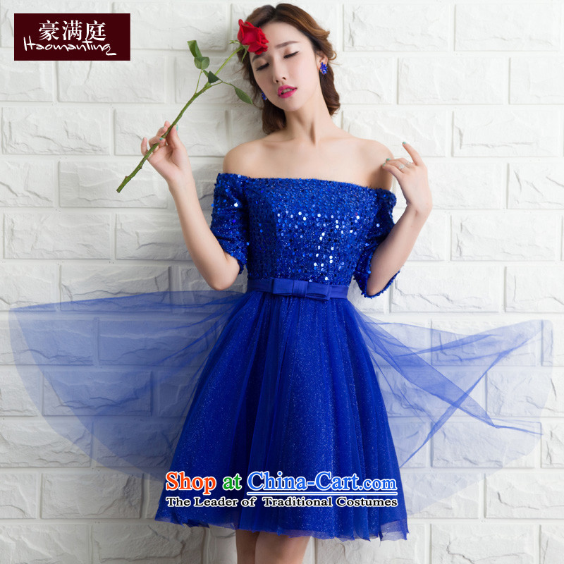 2015 new stylish evening dress a Field Service brides shoulder bows bridesmaid skirt wedding dress moderator short, Blue�M