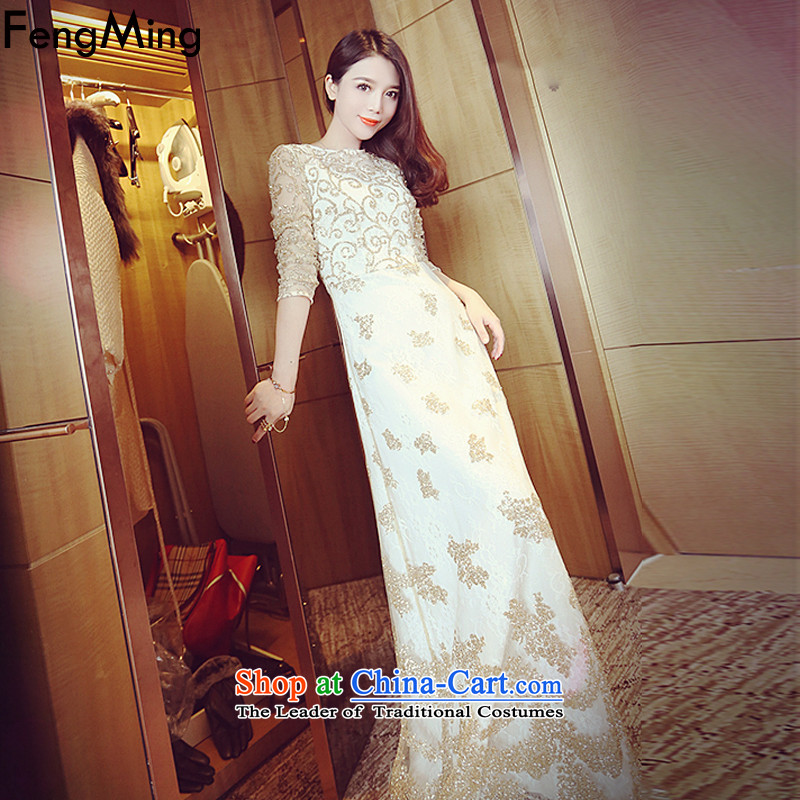Hsbc Holdings Plc�2015 Choo Ming sumptuous Heavy Industry on-chip video thin lace Sau San dresses dress long skirt m White�L