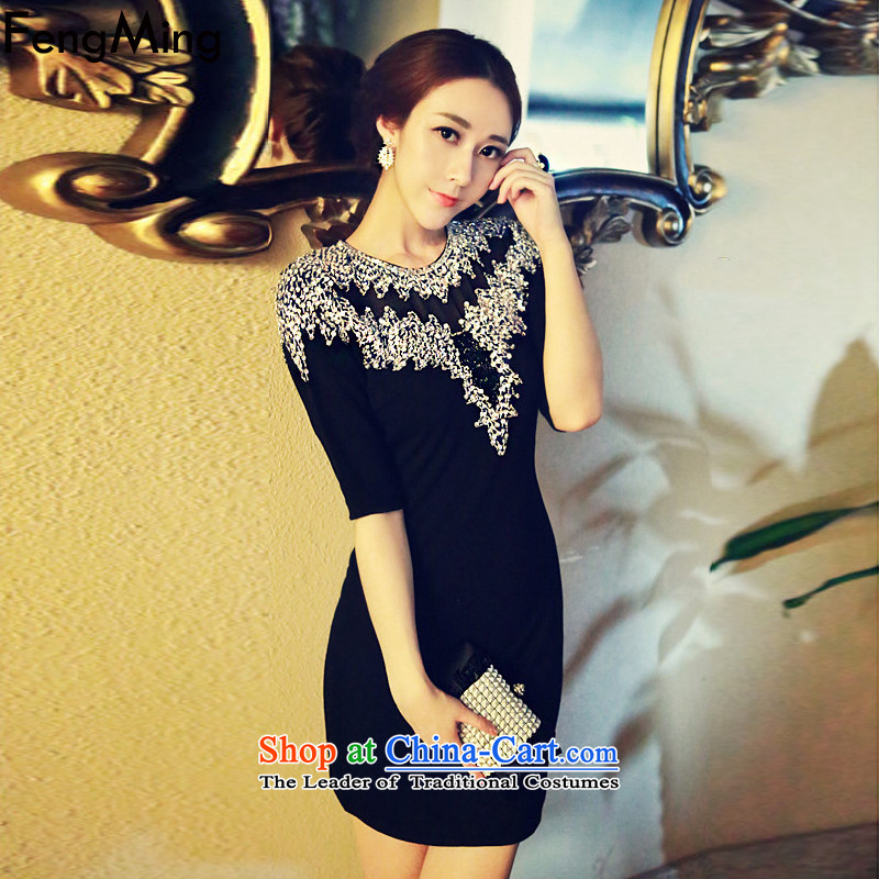 Hsbc Holdings plc to manually staple luxury Ming-ju High-end with Moonlight Serenade dress Sau San package and diamond in cuff dresses 2015 Black S