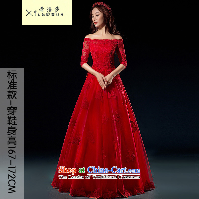 Hillo XILUOSHA_ Lisa _bride bows services red lace wedding a field in shoulder cuff wedding dress up high-end custom bows dress thick chinese red聽M