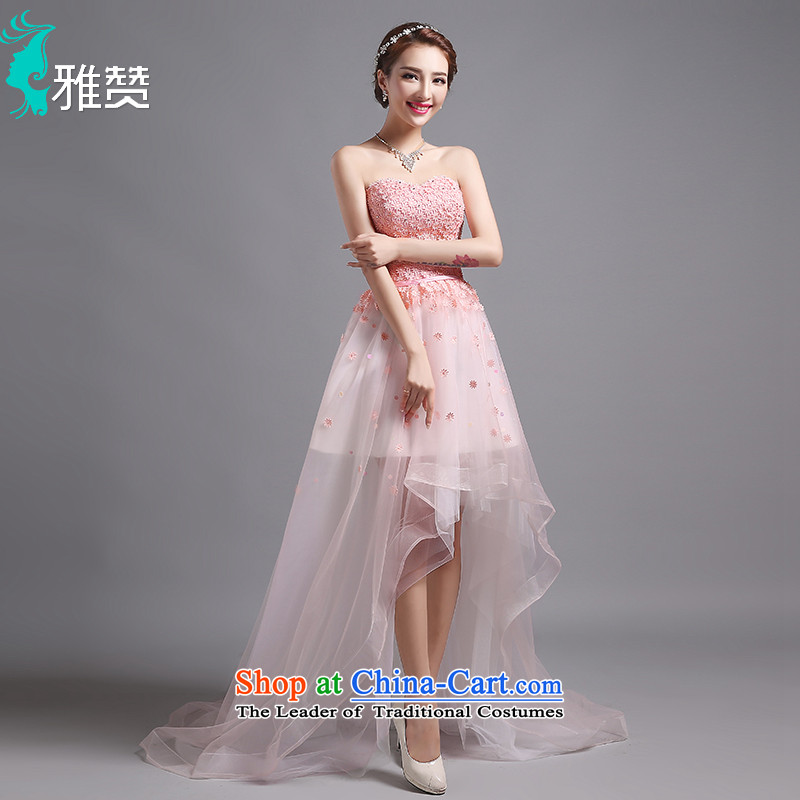 Jacob Chan bridesmaid dresses and chest after short long tail dress small summer 2015 new graphics thin princess birthday small dress skirt Pink Pink drink service?S