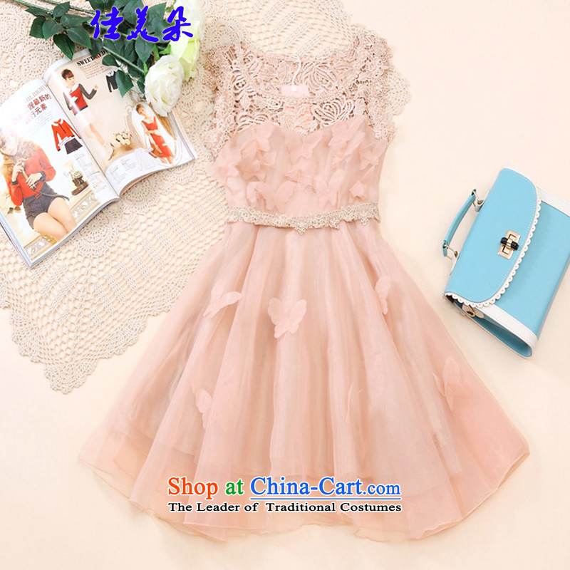 Jia Mei?   2015 Korean flower lace the yarn dresses bon bon skirt princess skirt sleeveless bridesmaid small dress dress 6551# pink?XL