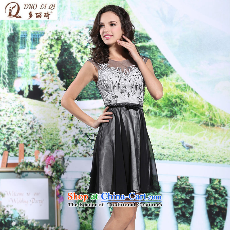 Doris Qi small dresses, black short chiffon Sau San (A field name Yuan meeting chaired skirt small cupboard�6103�Black�M