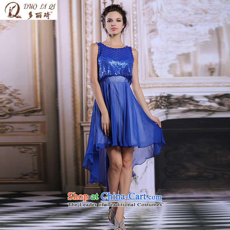 Doris Qi spring and summer evening dress Womens short film blue long after presiding over the performance of small dress�6108�Blue�XL