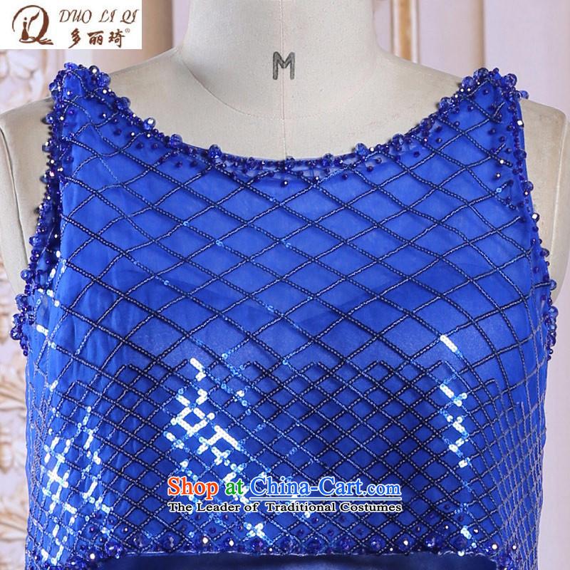 Doris Qi spring and summer evening dress Womens short film blue long after presiding over the performance of small dress6108BlueXL, Doris Qi (doris dress) , , , shopping on the Internet