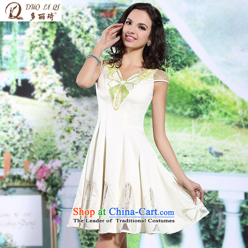 Doris Qi evening dresses bridesmaid services marriages banquet short, V-Neck shoulders a small white dress�vocational trainees�map color�S