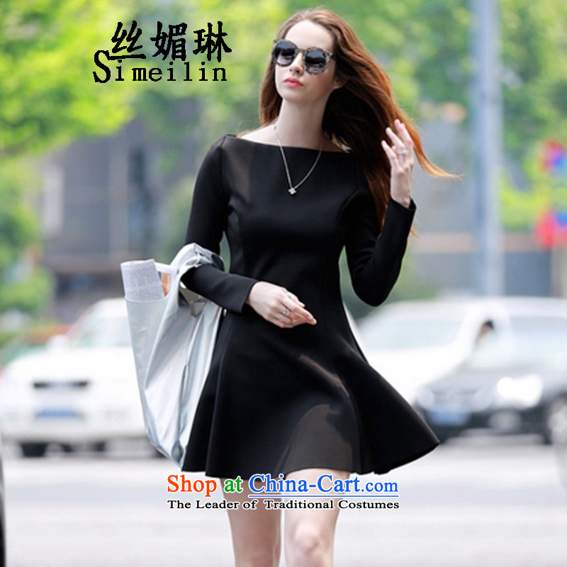 The population of the new 2015 Lin small wind fields for incense in a small sleeve black skirt Sheikh small black skirt dress black�M
