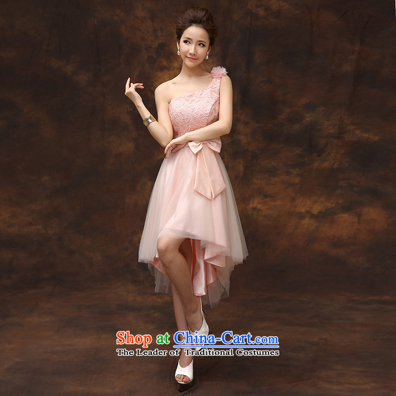 According to Lin Sha summer evening dress short, 2015 new bride pink drink service provides the wedding-dress marriage bridesmaid to serve small dress skirt D M
