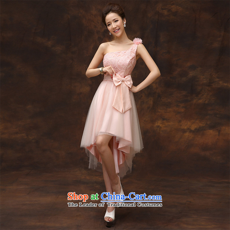 According to Lin Sha summer evening dress short, 2015 new bride pink drink service provides the wedding-dress marriage bridesmaid to serve small dress in section D of M to skirt Lin Sha , , , shopping on the Internet