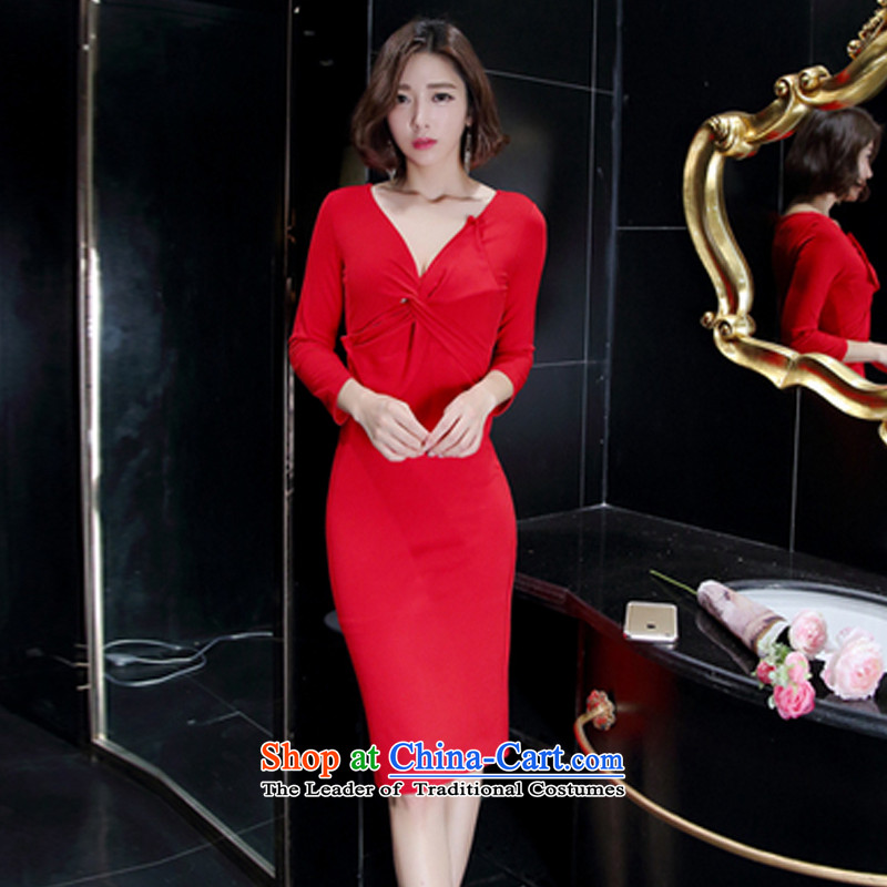 The population of autumn 2015 the new government of Korean women's aristocratic V-Neck Fold on Sau San's skirt dress red?L
