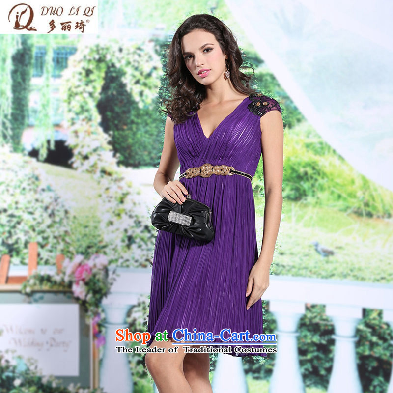 Doris Qi shoulders V-Neck small Dress Short of purple Sau San banquet apron skirt 6135 purple?L