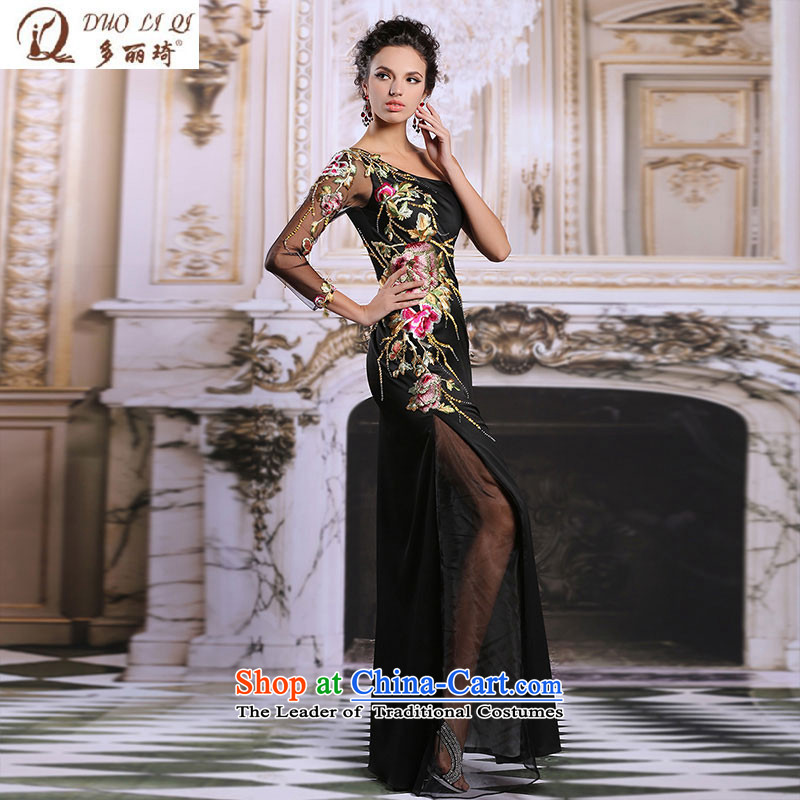 Doris Qi evening dresses black long dresses embroidery Sau San cheongsam banquet service?31318 bows?black?S