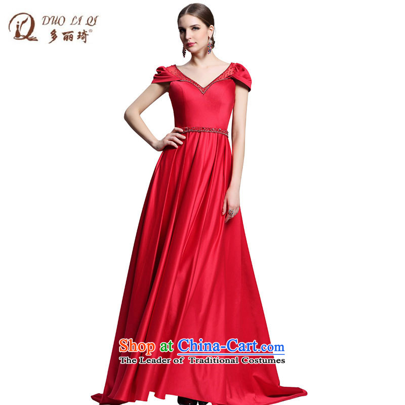 Doris Qi red noble wedding dresses bridal dresses western? 31322 serving drink?red?M